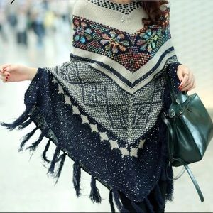 Sweaters - Floral poncho